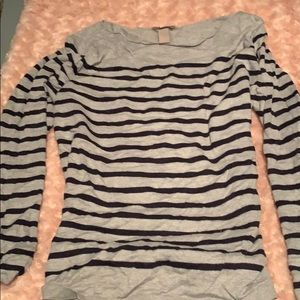 Long grey and navy blue striped sweater